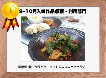 フォトコンテストエントリーNo.206  滋賀県 I様  収穫・利用部門   「サラダバーネットのエスニックサラダ」