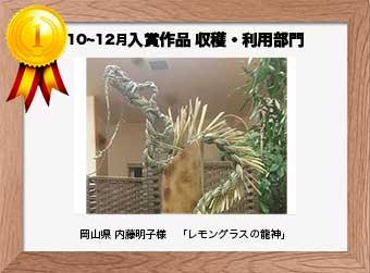 フォトコンテストエントリーNo.271  岡山県 内藤明子様  収穫・利用部門   「レモングラスの龍神」