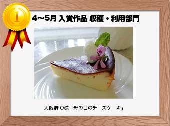 フォトコンテストエントリーNo.347  大阪府 O様  収穫・利用部門   「母の日のチーズケーキ」