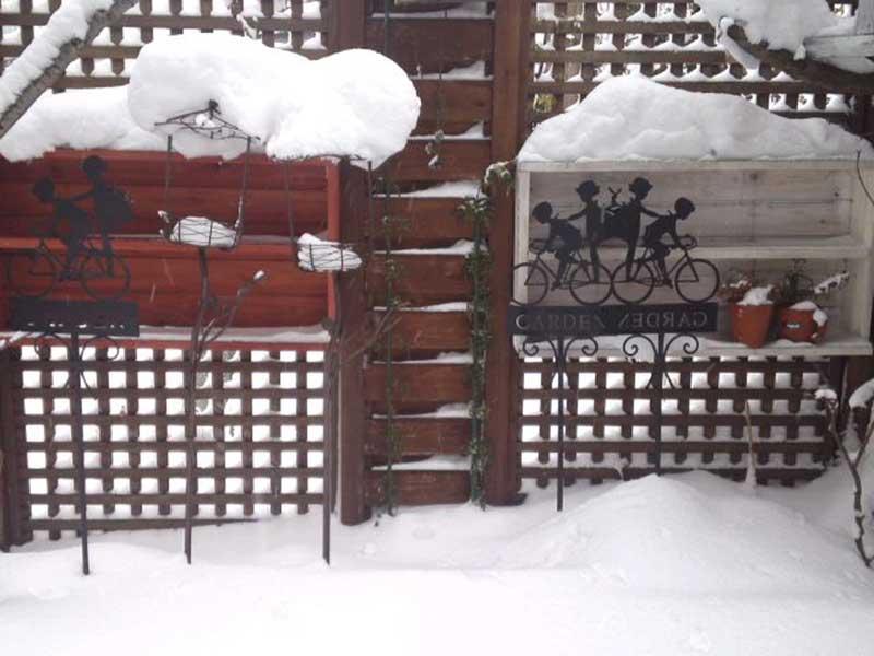 雪の中の庭